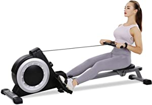 Magnetic Rowing Machine Folding Exercise Rower 16 Levels Tension Resistance with LCD Monitor for Home Use Cardio Training Equipment