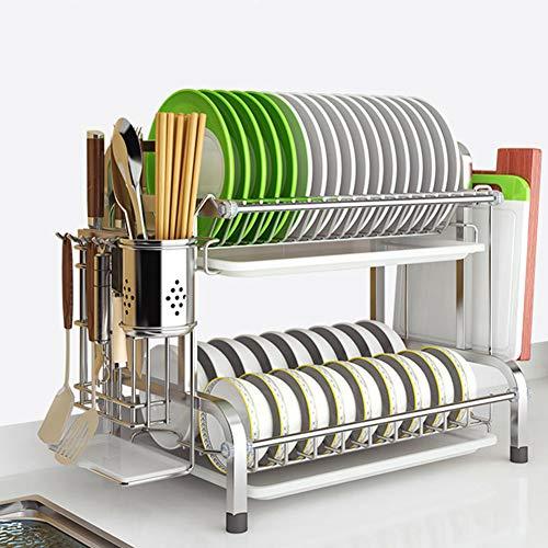 Escurreplatos Para Muebles de Cocina,2-Tier Acero Inoxidable Soportes para Platos Dish Drainer Rack Holder Organización Estante con Bandeja de Goteo, para Utensilios