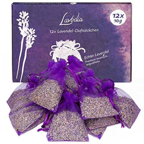 12x Lavendelsäckchen mit Lavendelblüten von Lavodia, zum Mottenschutz gegen Motten im Kleiderschrank oder als Lavendel Duftsäckchen zum Entspannen und Schlafen, 120g (12x 10g Lavendel Säckchen)