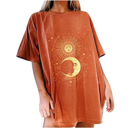 Women's Plus-Size Short-Sleeve V-Neck T-Shirt Plus Size Graphic tees for Womens 4X Lavender Graphic tee Graphic Print tee Cozy Tops Blouses(#17-Orange,L)