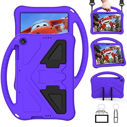 QYiD Funda Infantil para Huawei MatePad T10 / T10s 2020, Ligero EVA Antigolpes Protectora para niños con Soporte & Bandolera para T10s 10.1' AGS3-L09 AGS3-W09 / T10 9.7' AGR-L09 AGR-W09, Púrpura
