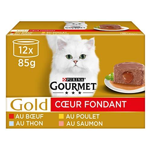 GOURMET - Cœur Fondant : Thon, Saumon, Boeuf, Poulet - 12x85g