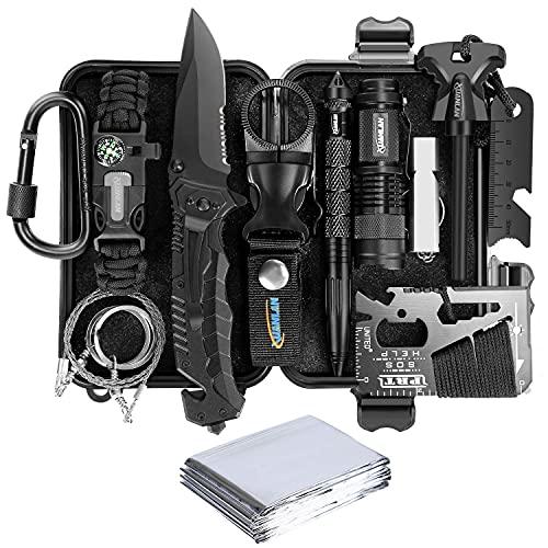 Kit de supervivencia de emergencia 13 en 1, herramienta de equipo de supervivencia al aire libre con pulsera de supervivencia, iniciador de fuego, silbato, madera, clip para botella de agua, bolígraf