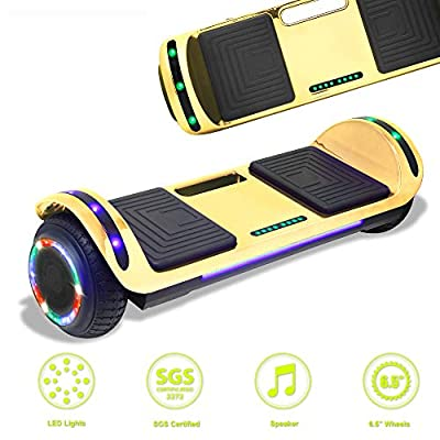Latest Model Electric Hoverboard Dual Motors Two Wheels Smart self Balancing Scooter with Built in Speaker LED Lights for Gift (Chrome-Gold)
