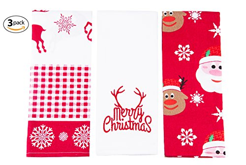 Kitchen Towels - Dish Cloth 3 Pack Super Absorbent - 100% Natural Cotton Kitchen Towels (16x28 inch) - Tea Towels Perfect Home and Kitchen Gift for Holidays