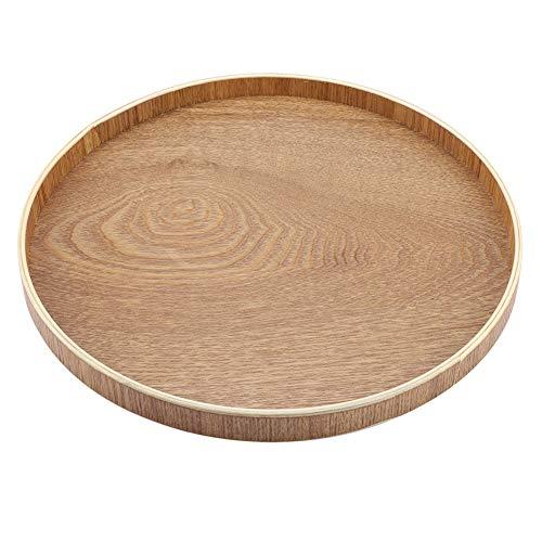 Bandeja de servir de madera redonda para té, frutas, caramelos, decoración del hogar, 30 cm