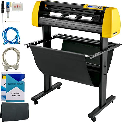 VEVOR Vinyl Cutter Machine, 870mm Cutting Plotter, Automatic Camera Contour Cutting 34 in Plotter Printer with Floor Stand Adjustable Force and Speed for Sign Making Plotter Cutter
