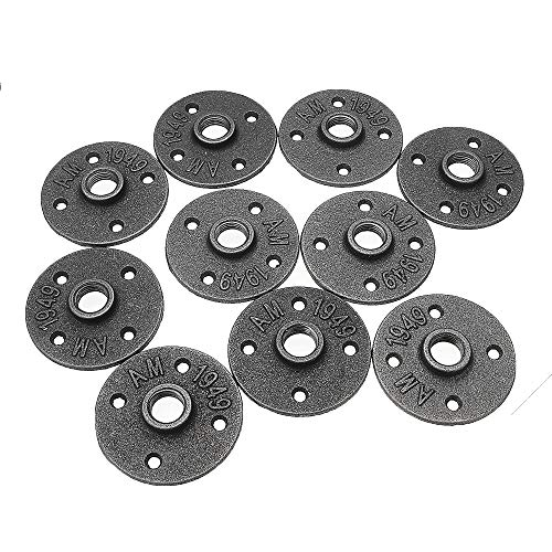 RanDal 10Pcs/Set 1/2' 3/4' 1' Malleable Cast Iron Floor Flange Plates 4 Holes Black Pipes Fittings Industrial Pipe Furniture Wall Mount Diy Decor - 1 Inch