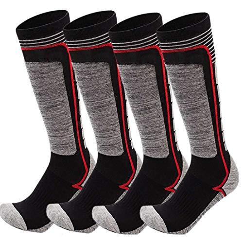 FINGER TEN 2 Paar Skisocken Skistrumpf Sportsocken Baumwolle Socken Herren Damen Kinder Mädchen Jungen Verdicken Für Wintersport Snowboard Geschenk Größe 31-43 (Grau, S(31-34)) …
