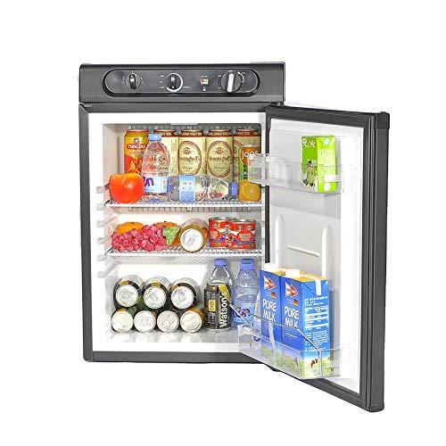 Smad Kühlschrank/Kompakter Kühlschrank für Camping - Wohnmobil - Caravan - Hotel / 12 V - 220 V - Gas/Energiesparfunktion / 60L / Schwarz