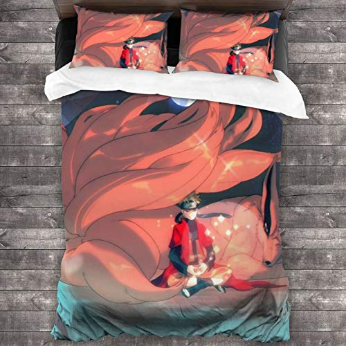 Anime Naruto 3-Piece Bedding Set 86 x 70 In Two Pillowcases And One Quilt Cover Soft Microfiber Quilt Cover and Pillowcase One Size