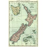 wzgsffs Vintage Neuseeland Karte Antike Leinwand Gemälde