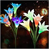 Solar Flower Lights Outdoor(2020 New Upgraded)Multi-Colors Changing LED Decorative Lights,Outdoor Solar Garden Stake Lily Lights,Solar Powered Lights for Garden(2 Pack,White&Blue)