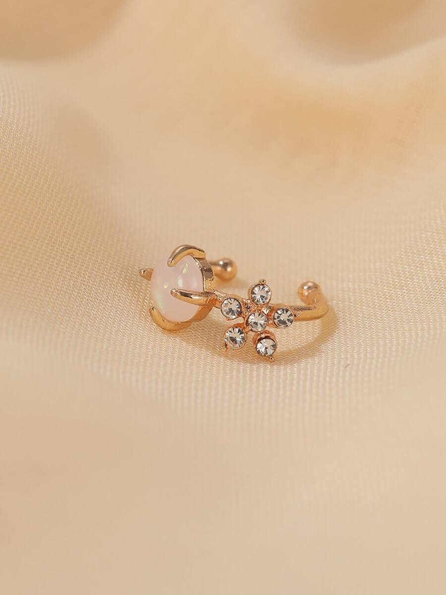 AXJTNL Hoop Earrings Rhinestone Decor Ear Cuff (Color : Gold)