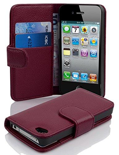 Cadorabo Hülle für Apple iPhone 4 / iPhone 4S - Hülle in Bordeaux LILA – Handyhülle mit Kartenfach aus struktriertem Kunstleder - Case Cover Schutzhülle Etui Tasche Book Klapp Style