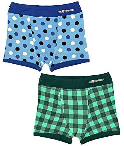 Ez Undeez Boxer Training Unterhose für Jungs mit gepolsterten Liner (Polkadots & Plaid, 6-8 Jahre)