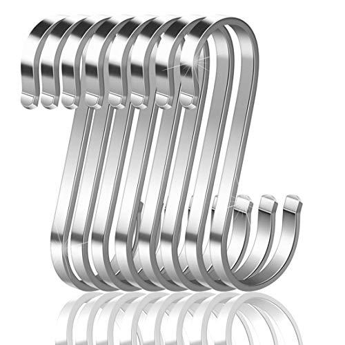 Confezione da 16 ganci a S in acciaio inox, ganci in metallo resistenti per utensili da cucina, ufficio, bagno, armadio, officina, garage, ufficio, casa