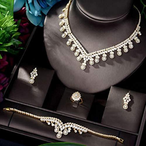 FWJSDPZ AAA - Juego de joyas de circonita cúbica para mujer, collar de boda, aretes, anillos, pulseras y accesorios (color: oro)