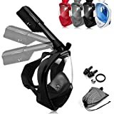 LEUCOTHEA Snorkel Mask Full Face Diving Mask Swimming Scuba Detachable Breathing Tube with Action Camera Mount Adapter Anti-Fog Anti-Leak - Panoramic 180°View Design for Man Woman Adult Youth