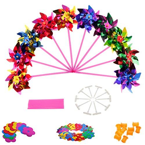 KOFUN Moulin À Vent, 10 Pièces en Plastique Moulin À Vent Pinwheel Vent Spinner Enfants Jouet Jardin Pelouse Parti Décoration Paillettes