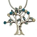 Acosta - Catenina con ciondolo a forma di albero della vita, colore turchese/azzurro/acquamarina, con opale e cristalli Swarovski, in stile vintage, colore argento