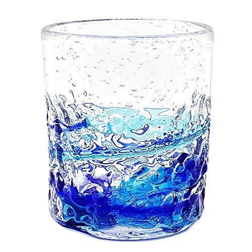 冷茶グラス コップ カップ 琉球ガラス グラス 美ら海デコボコグラス (青)