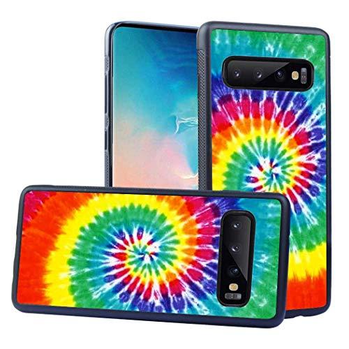 LEALIN Galaxy S10 Case, Rainbow Tie Dye Pattern Antiskid Handle Black TPU Phone Case Compatible for Samsung Galaxy S10 Cover