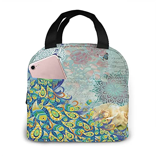 Peacock And Vintage Botanical Portable Insulated Lunch Bag Woman Waterproof Tote Bags Small Handbag,Shopping Office/School/Picnic/Travel/Camping