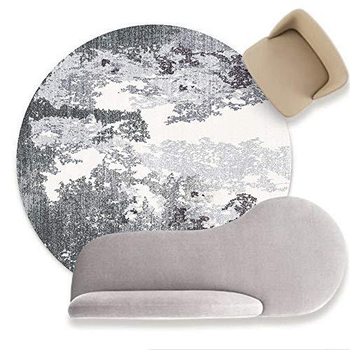 Alfombra redonda moderna y elegante Alfombra suave de estilo antiguo, para sala de estar, dormitorio, sofá, mesita de noche, guardarropa, silla, alfombra, habitación de niños, gris / blanco-120 cm de