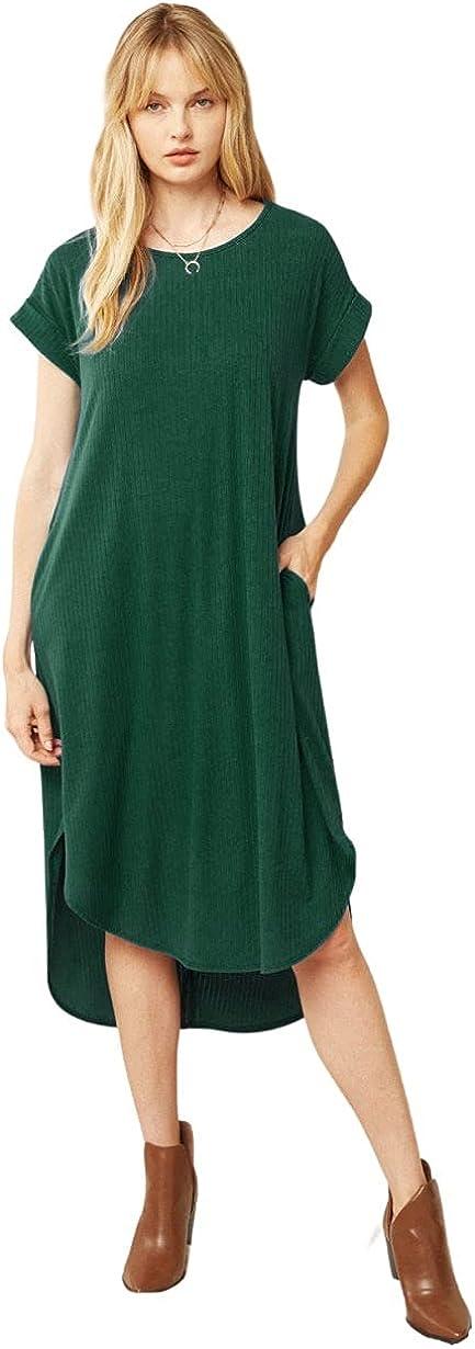 Entro Women's Ribbed Short Sleeve Pocket Midi Dress