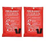 Fire Blanket, Emergency Fire Blanket, Fire Retardant Blankets for Kitchen, Home and Warehouse, 2 Pack (39.3X 39.3 inch)