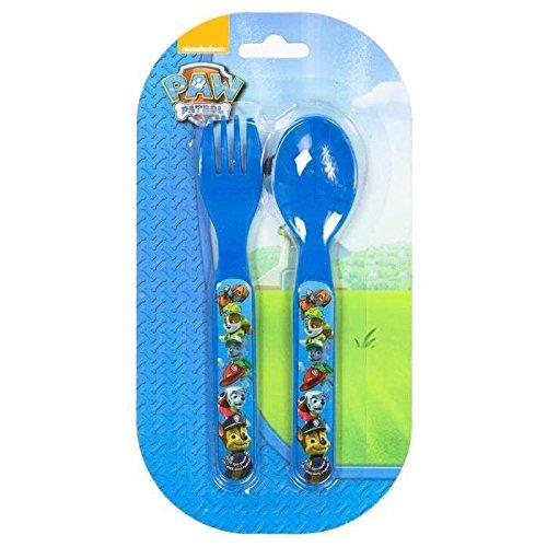 Set de couverts Plastique pour enfant Pat'Patrouille BLEU - Fourchette Couteau Repas Bebe - 517