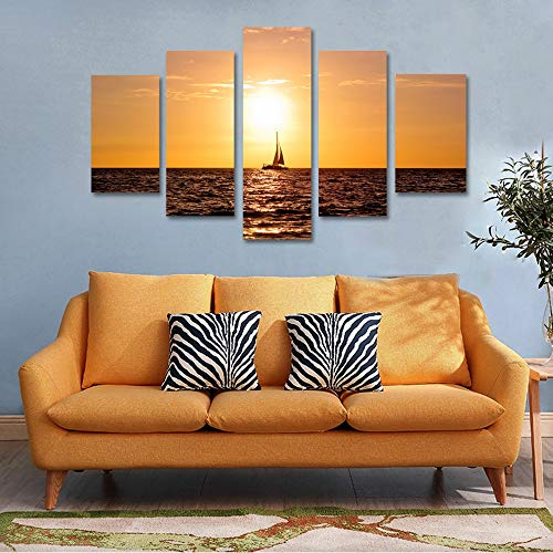 GVC 30X40X60X80 The Seascape Sailboat Sunset Modular HD Printed 5 Panel Posters Home Decor Canvas Painting Print Wall Picture for Living Room