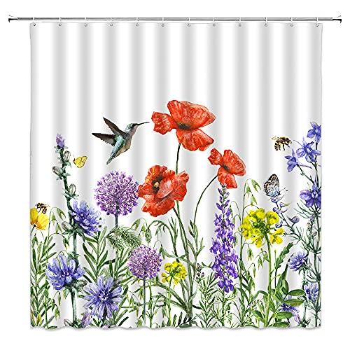 Wildblumen-Duschvorhang, Wasserfarben, Kolibri, Biene, Mohnblumen, Kräuter, Frühling, natürliche Landschaft, weißer Hintergr&, Polyesterfaser, Badezimmer-Dekoration, inklusive 12 Haken