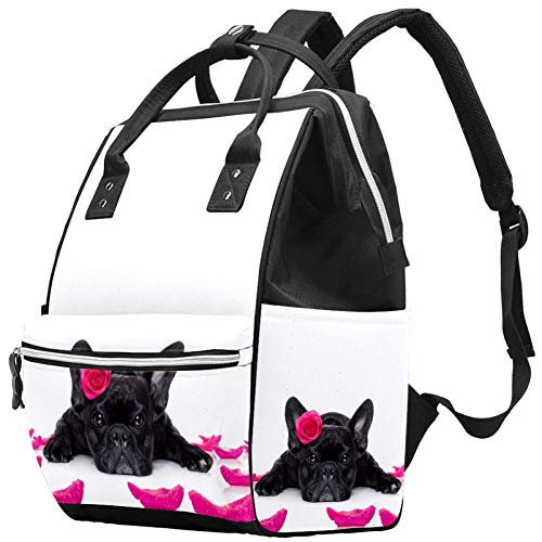 Animals Dogs Animals Dogs French Bulldog Dog with A Rose Diaper Bag Laptop Backpacks Notebook Rucksack Travel Hiking Daypack for Women Men