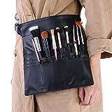 Trousse à pinceaux de maquillage, réglable en cuir PU souple 22 poches titulaire tablier sac banane sac de rangement cosmétiques outils