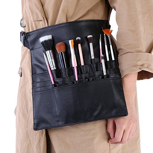 Bolsa de cepillo de maquillaje, ajustable suave de cuero de la PU 22 bolsillos titular delantal cintura bolsa cosméticos almacenamiento herramientas