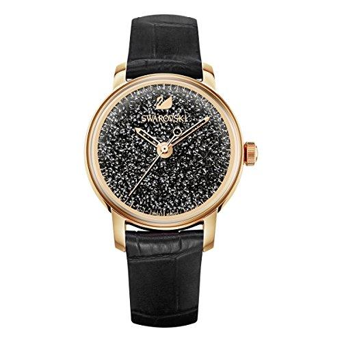 Swarovski Crystalline Hours Armbanduhr für Frauen, schwarzes Lederarmband, schwarzes Kristall, rotgold glänzendes PVD-Finish