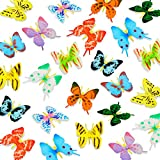 36 Pieces Butterflies Action Figure Art Lifelike Butterfly Decoration Miniature Butterfly Party Favor Toys for Wall Bedroom Office Decoration
