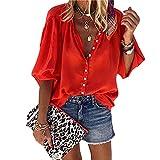 Camisa Mujer Elegante Moda Color Puro Clásico All-Match Básico Cuello Redondo Manga Larga Mujer Tops Primavera Verano Suelta Cómoda Mujer Blusa A-Red XL