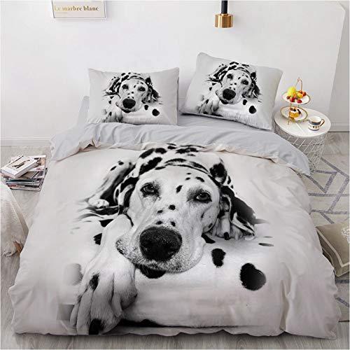 Bettwäsche-Set mit 3D-Tiermotiv, Mikrofaser für Hunde, niedlich, für Kinderzimmer (B, 135 x 200 cm)