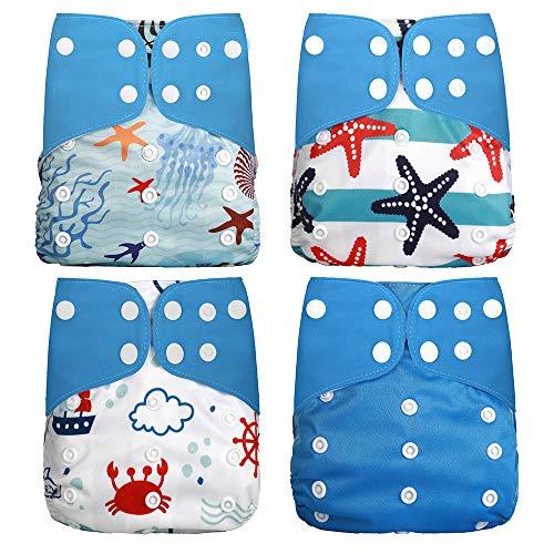 Wenosda 4PCS Pañales de tela para bebés Pañales de bolsillo Pañales reutilizables lavables Inserte el pañal de bolsillo todo de los bebés y niños(Algas + Estrella de mar + Cangrejo + Azul)