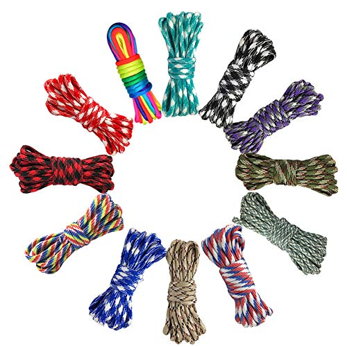 Paracord Cord 550 Multifunction Paracord Ropes 12 Colors 10 Feet,Tent Rope Parachute Cord Outdoor Survival Rope Making lanyards,Keychain,Carabiner,Dog Collar,Survival Camping Climbing (Camouflage)