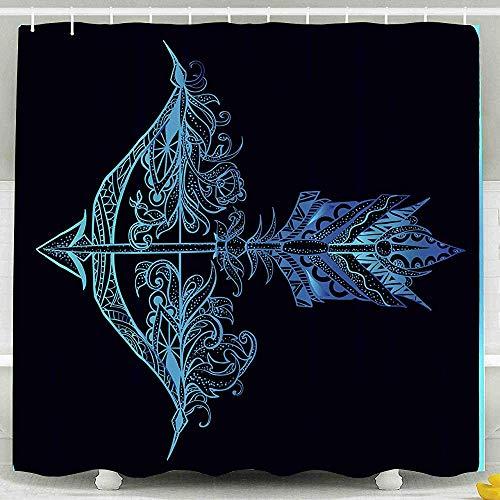 Tenda da doccia, arco di piume di freccia Tiro con l'arco Motivi grafici Motivi floreali Elementi etnici Decorazioni impermeabili Set da bagno Ganci, 72X72 pollici, 183X183 cm