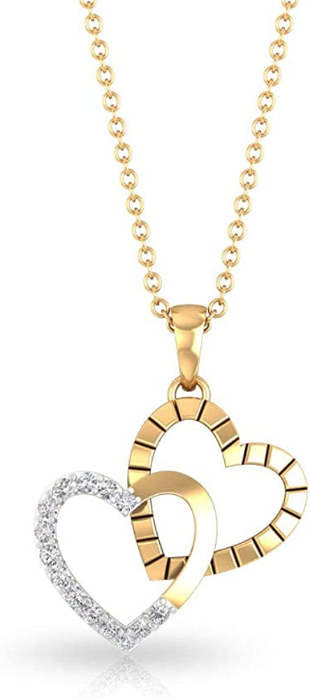Pave 0.12 Carat Certified Diamond Double Heart Pendant, Solid 14k Gold Engraved Love Heart Necklace, Forever Chain Charm Mother Stacking Pendant Gifts