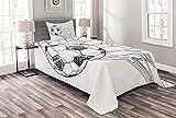 ABAKUHAUS Fußball Tagesdecke Set, Fußball im Netz, Set mit Kissenbezug Moderne Designs, für Einzelbetten 170 x 220 cm, Weiß Schwarz