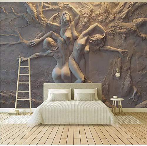 Muurschilderingen Aangepaste muurschildering 3D Niet-geweven KTV Woonkamer Slaapkamer TV Muur 3D Abstract Esthetische Pleister Relief Figuur Foto Milieubescherming 450(w)x300(H)cm