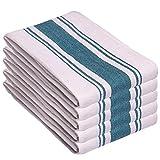 Toallas de cocina Trade Fountain - Paquete de 5 Toallas de cocina de algodón - 46 X 71 CM Toallas de cocina Holiday - Tela de algodón 100% puro (verde azulado - Center Stripe)