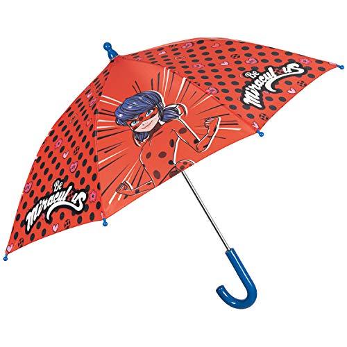Paraguas Clásico Niña Ladybug - Paraguas Chica Estampado Lady Bug y Cat Noir - Paraguas de Lluvia Miraculous - Ligero Resistente y Antiviento - Chicas 3/6 Anos - 76 cm Diàmetro - Perletti (Azul)