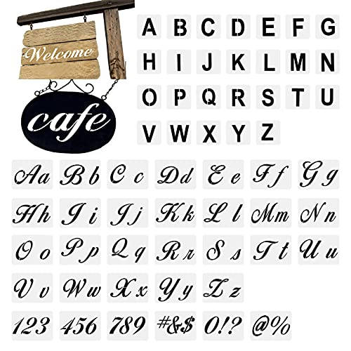 Stencil Letters for Painting On Wood Alphabet Letter with Calligraphy Font Upper and Lowercase Letters Reusable Plastic Stencils Template Sets for DIY Painting Craft for Wood Wall Fabric Etc (58 pcs)